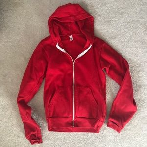 Red American Apparel Classic Zip Up Hoodie - Small